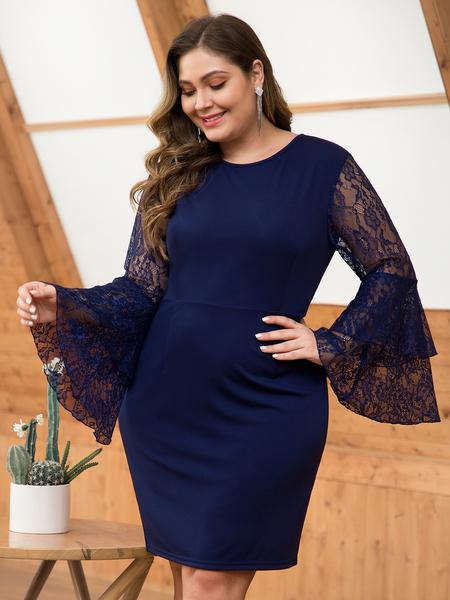 Yoins Plus Size Navy Lace Patchwork Dress