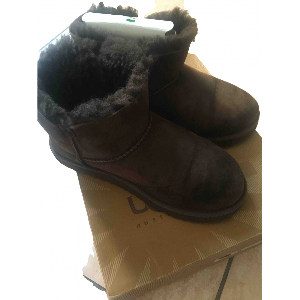 Ugg \N Brown Fur Boots for Women 35 EU