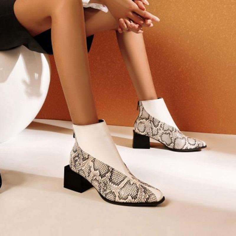 Ericdress Block Heel Color Block Back Zip Zipper Boots