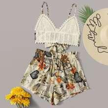 Gehaekeltes Cami Top mit Band hinten und tropischem Muster & Shorts mit Papiertasche um die Taille Set