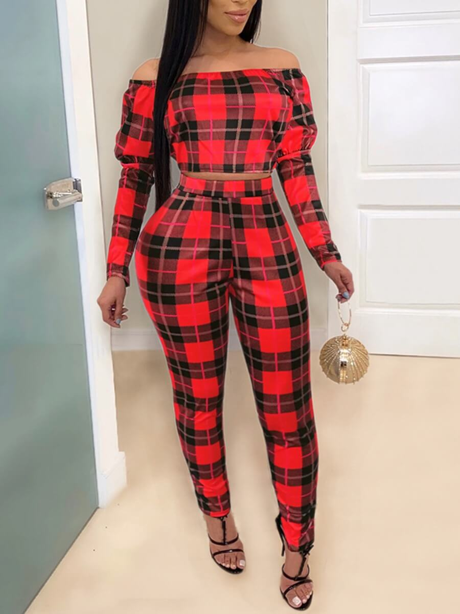 LW Lovely Stylish Off The Shoulder Plaid Print Red Two Piece Pants Set