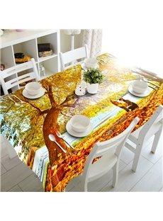 Autumn Seaside Scenery Prints Washable Dining Room Decoration 3D Tablecloth