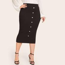 Plus Button Front Rib-knit Pencil Skirt