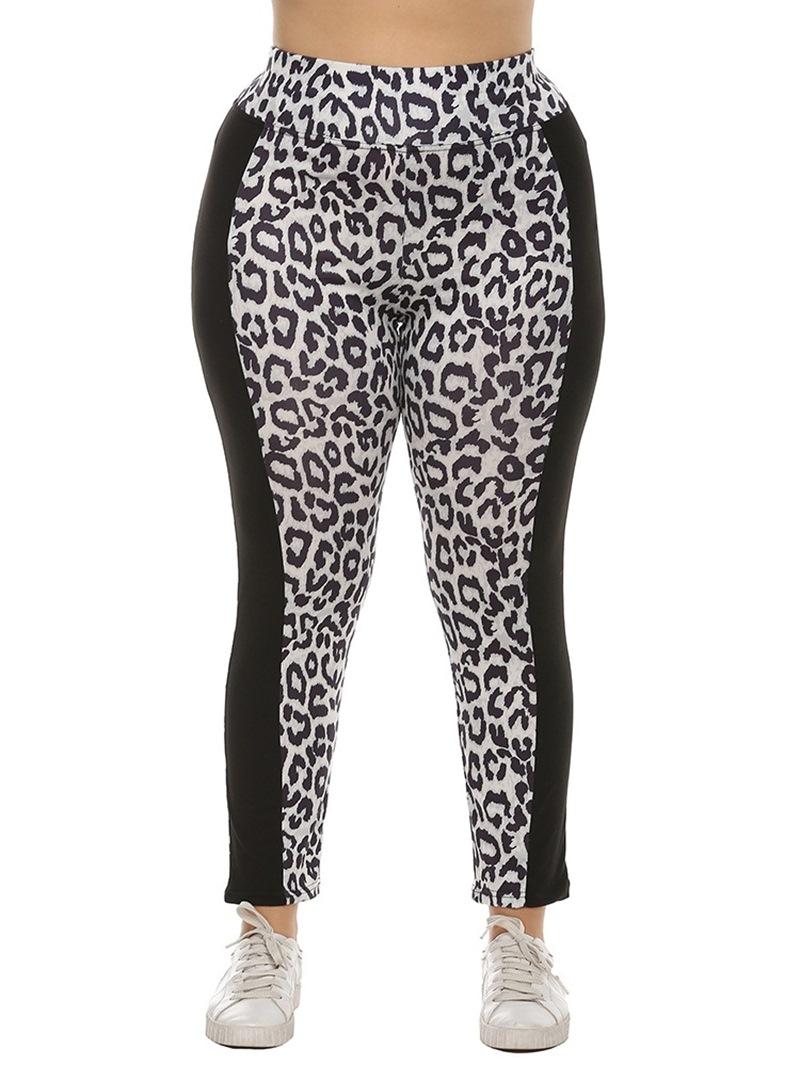 Ericdress Patchwork Casual Leopard Mid Waist Leggings
