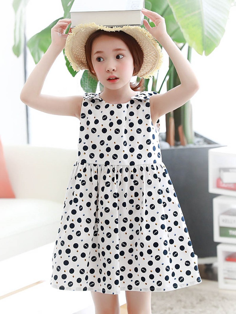 Ericdress Polka Dots Scoop A-Line Bowknot Girl's Sleeveless Dress