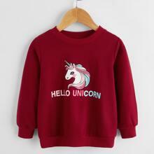 Sudadera con estampado de letra y unicornio