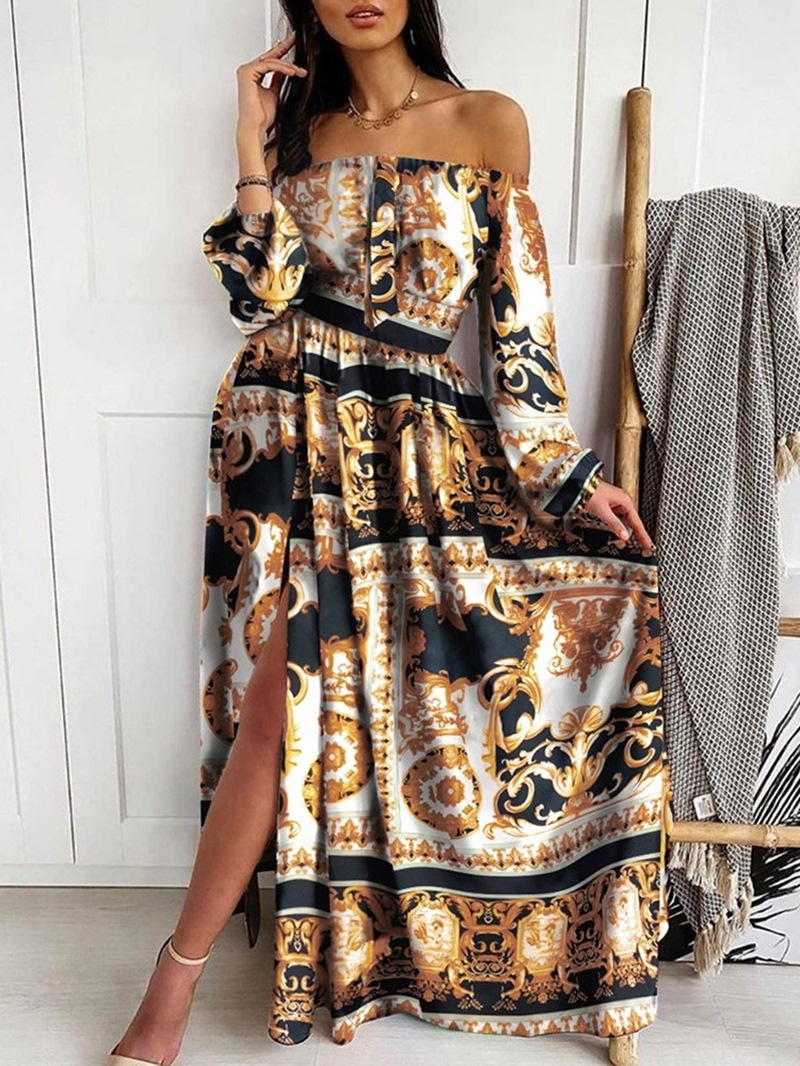 Ericdress Print Long Sleeve Floor-Length Office Lady Pullover Dress