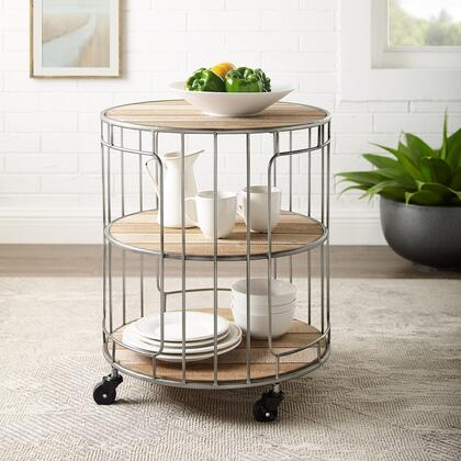 AC129MTL01AS Ac129Mtl01As Ani Three Tie Metal And Rolling Cart With Three Rustic Wood Shelves  Industrial Wire Base And Versatile Design Fits Many