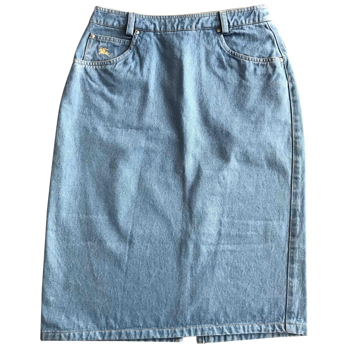 Burberry \N Blue Denim - Jeans skirt for Women 38 FR