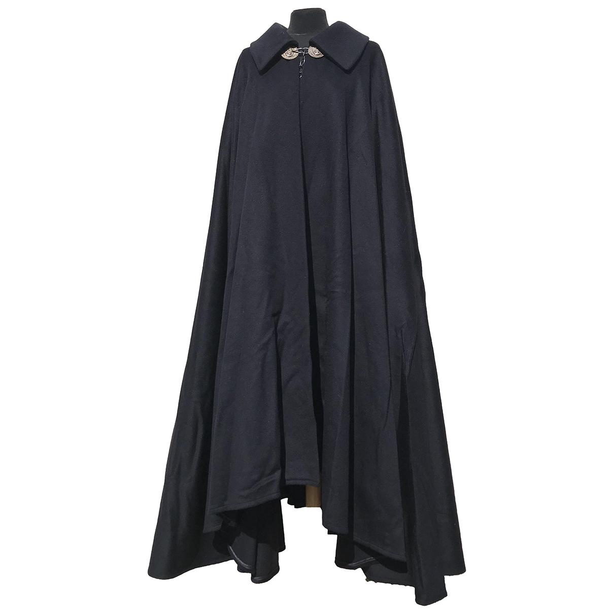 Non Signe / Unsigned Oversize Maentel in  Blau Wolle