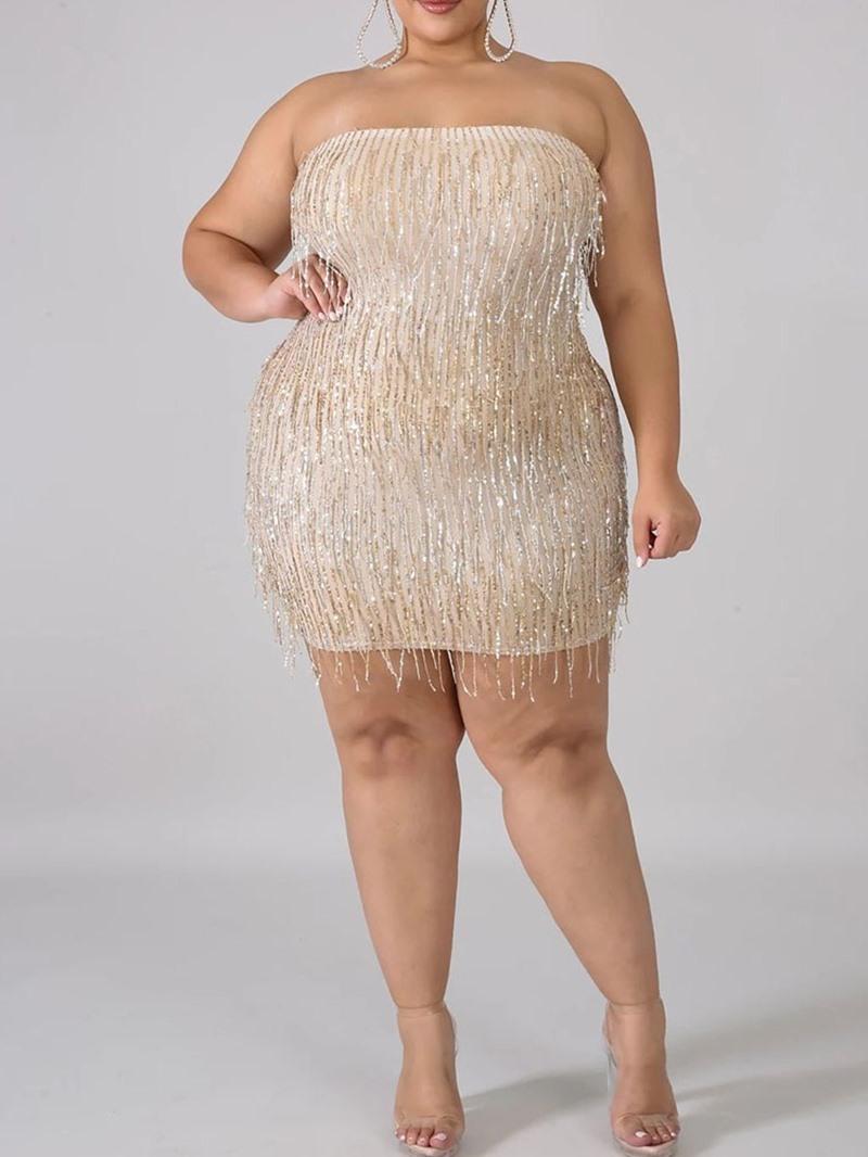 Ericdress Sequins Sleeveless Above Knee Plain Summer Dress