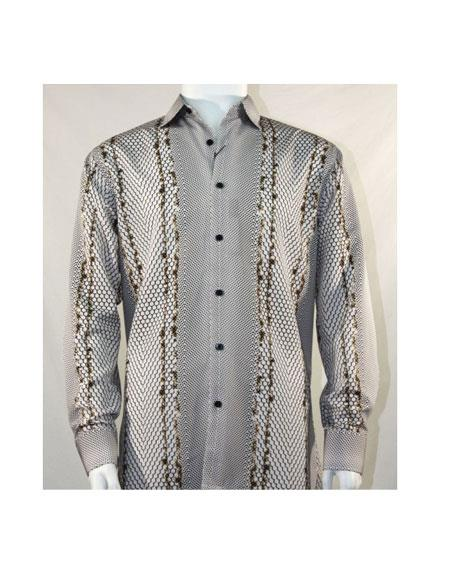 Full Cut Long Sleeve Varied Pattern Brown Fashion Shirt