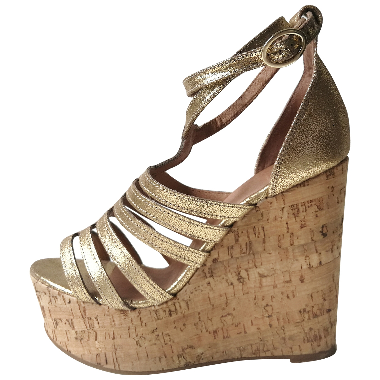 tophop \N Gold Leather Sandals for Women 39 EU