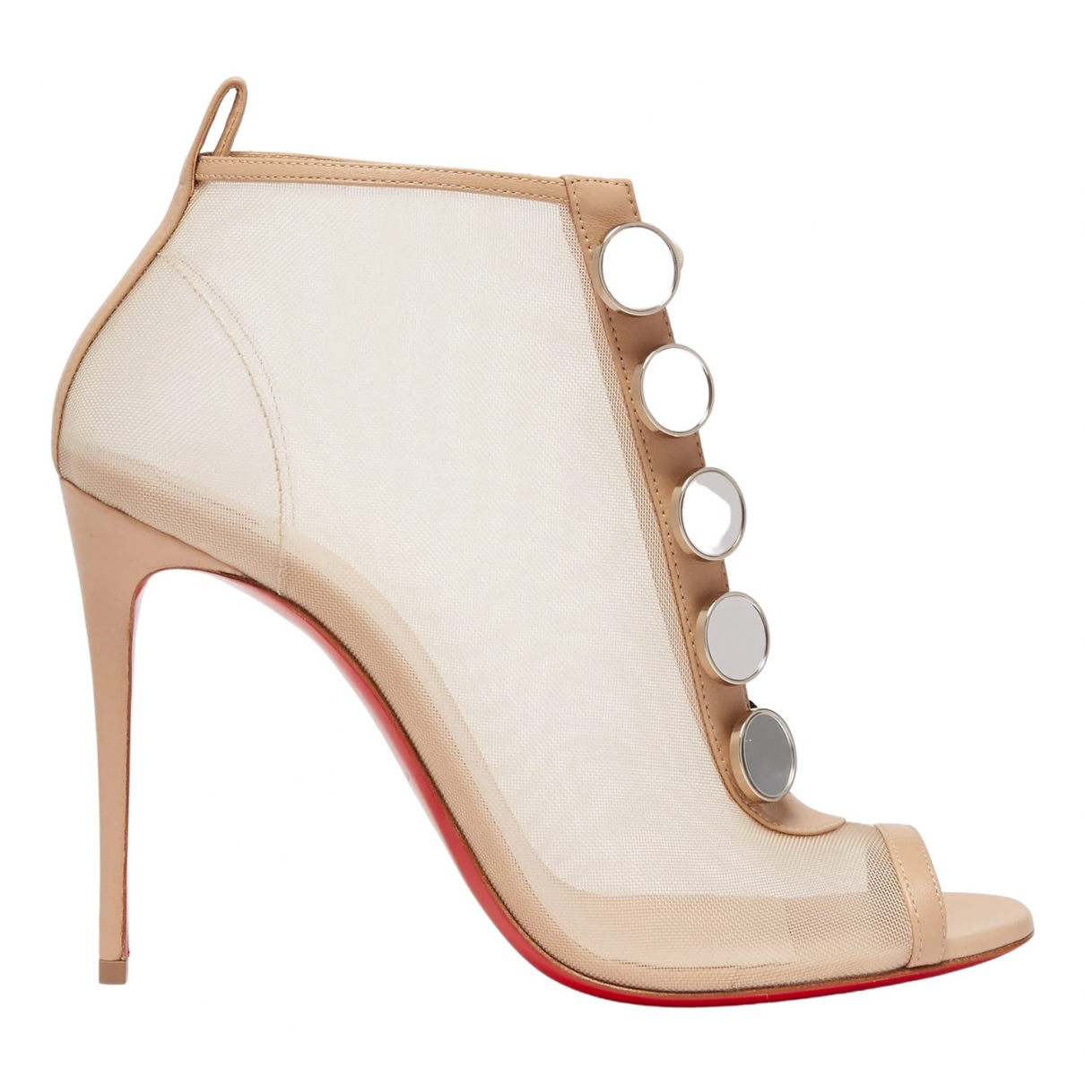 Christian Louboutin \N Beige Cloth Ankle boots for Women 41 EU