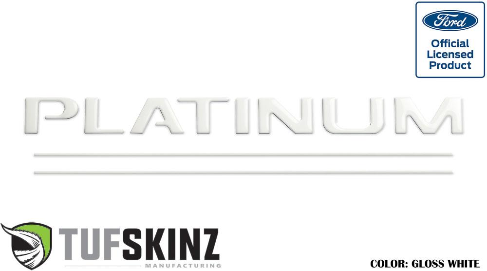 Tufskinz SUP030-WHT-G Tailgate Inserts w/Line Inserts Fits 2017-2021 Ford Super Duty Platinum 10 Piece Kit Gloss White