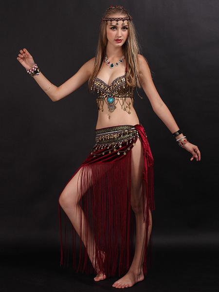 Milanoo Traje de danza del vientre con flecos Ropa de baile para mujer con moneda