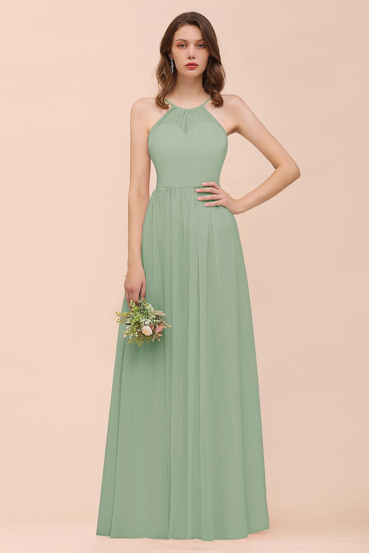 BMbridal Blushing Pink Chiffon Ruffle Affordable Bridesmaid Dress