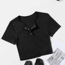 Strick T-Shirt mit halben Druckknopfen