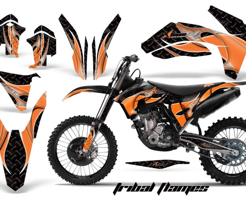AMR Racing Dirt Bike Decal Graphics Kit Wrap For KTM SX/SX-F/XC/EXC/XFC-W 2011-2013áTRIBAL ORANGE BLACK