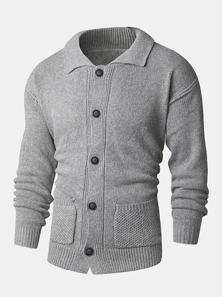 Mens Rib-Knit Lapel Button Front Double Pocket Casual Long Sleeve Cardigans