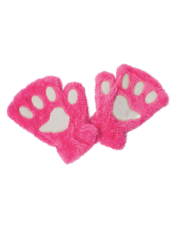 Kostuemzubehor Handschuhe Pluesch Pfote pink