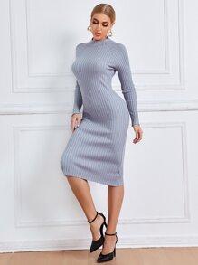 Twist Backless Ribbed Knit Sweater Dress