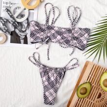 Bikini Badeanzug mit Plaid Muster und Knoten vorn