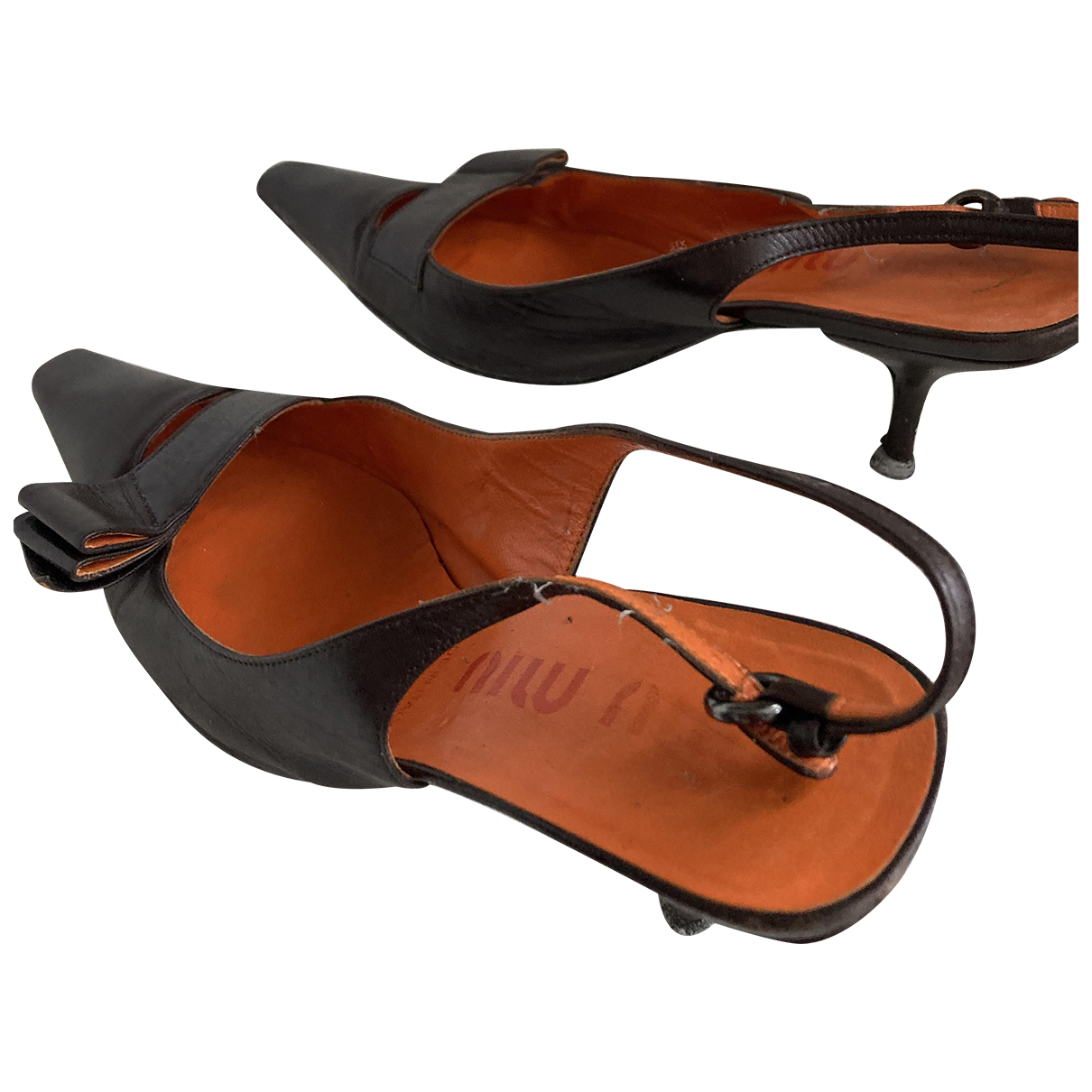 Miu Miu - Escarpins   pour femme en cuir - marron