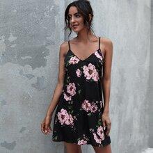 Cami Kleid mit Blumen Muster und tiefer Rueckseite