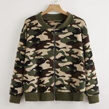 Plus Camo Print Zip Up Teddy Bomber Jacket
