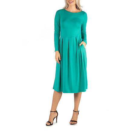 24/7 Comfort Apparel Midi Fit and Flare Dress, Large , Green
