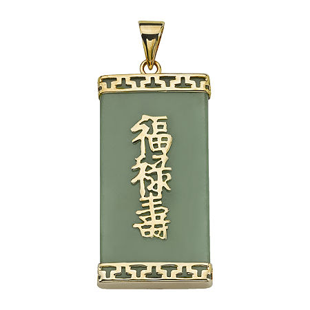 Womens Genuine Green Jade 14K Gold Pendant, One Size , No Color Family