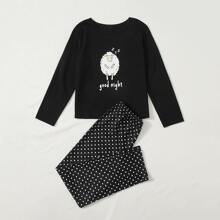 Schlafanzug Set mit Schaf & Punkten Muster