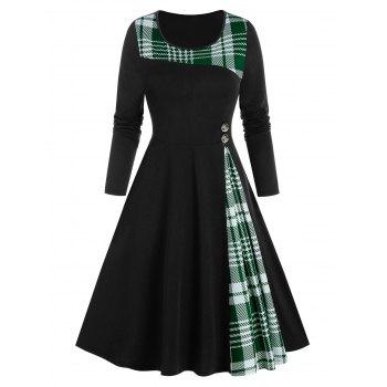 Plaid Insert Button Knee High Long Sleeve Dress