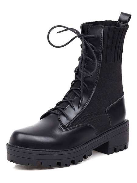 Milanoo Women Martin Boots Black Round Toe Lace Up Ankle Boots