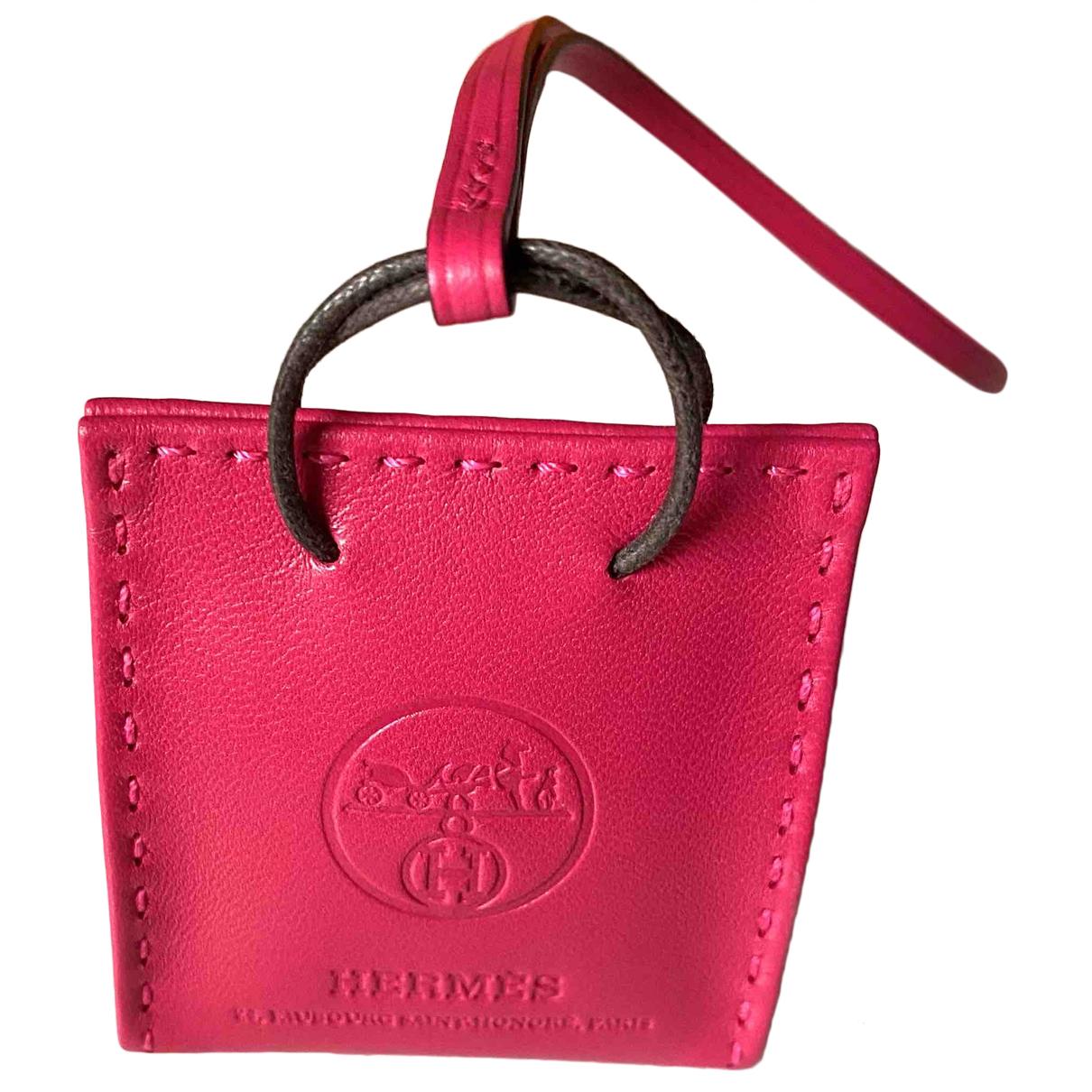 Hermes - Bijoux de sac Shopping bag charm pour femme en cuir - rose