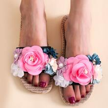 Flower Appliques Slippers