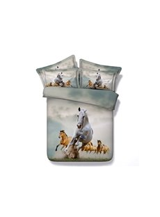 Running Horses Duvet Cover Set Animal Printed Cotton 4-Piece 3D Bedding Sets