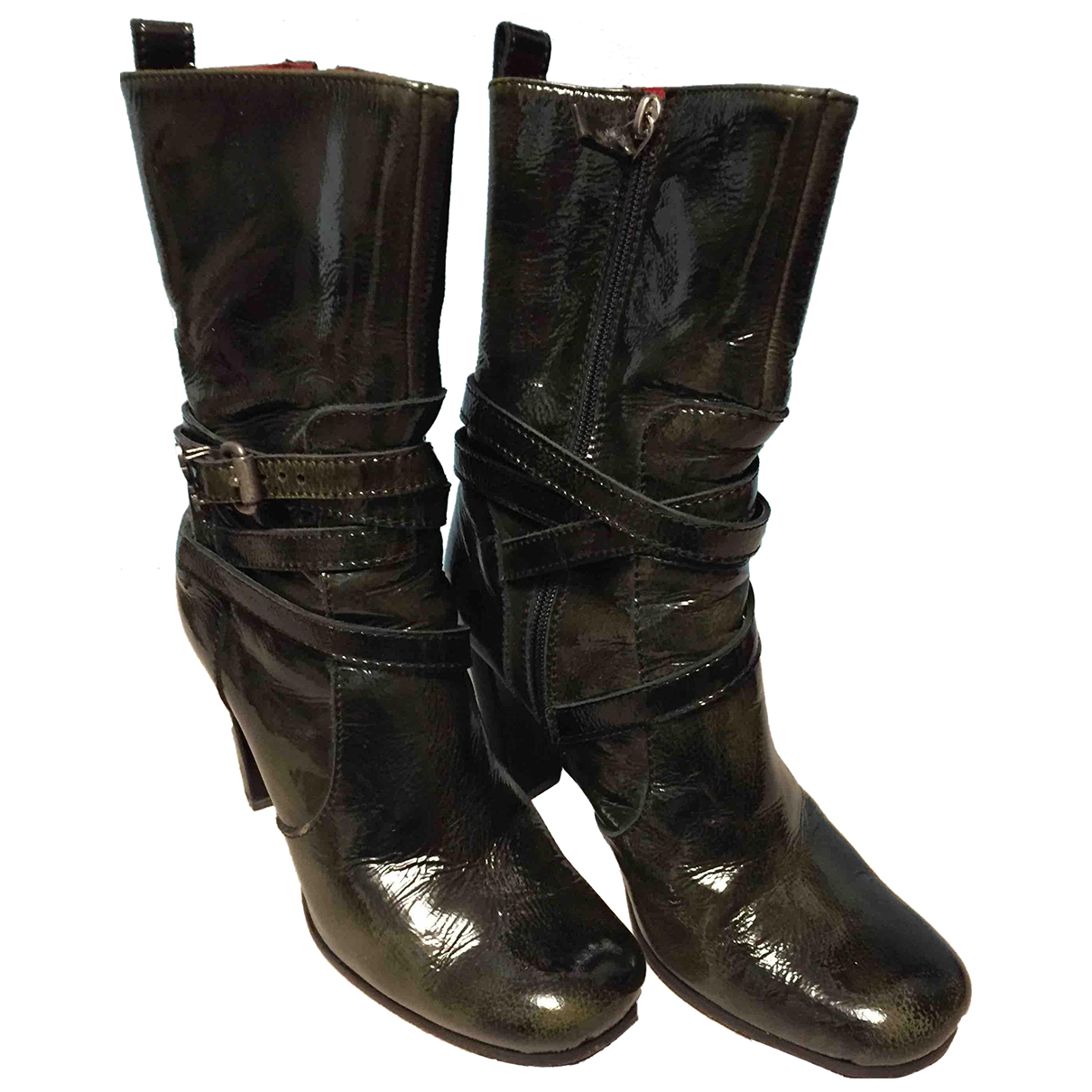 Costume National N Green Patent leather Ankle boots for Women 40 IT