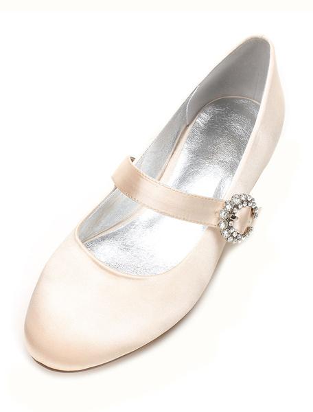 Milanoo Champagne Bridesmaid Shoes Satin Wedding Shoes Round Toe Rhinestones Mary Jane Wedding Guest Shoes