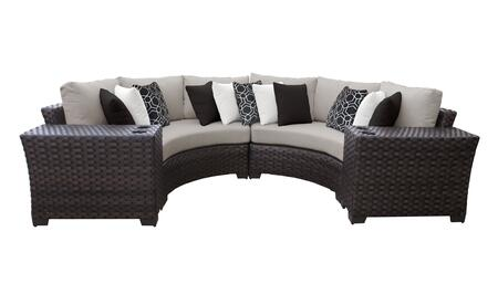 RIVER-04a-BEIGE Kathy Ireland Homes and Gardens River Brook 4-Piece Wicker Patio Set 04a - 1 Set of Truffle and 1 Set of Almond