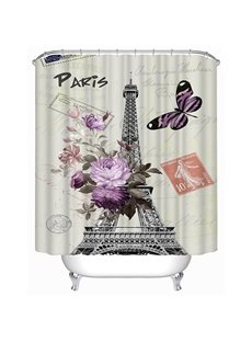 3D Eiffel Tower and Flowers Printed Polyester White Shower Curtain