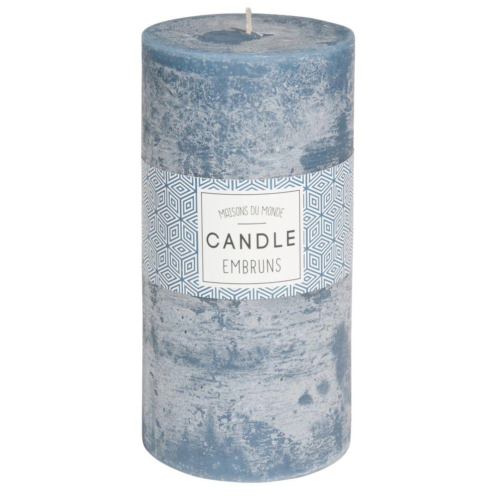 Zylindrische Kerze dunkelblau 9 x 18 cm