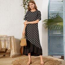 Polka Dot Print Asymmetrical Ruffle Hem Dress