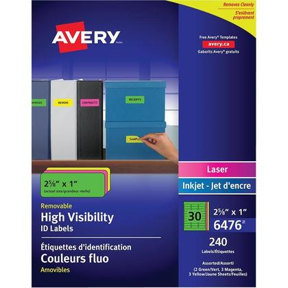 Avery@ Laser/Inkjet Removable ID Multipurpose Labels - Rectangular, neon colours.,1 x 2-5/8