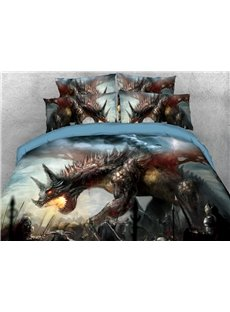 Brave Dragons In The War 3D Printed 4-Piece Polyester Bedding Sets/Duvet Covers