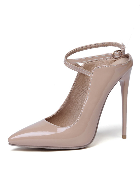 Milanoo Nude High Heels Pointed Toe Criss Cross Stiletto Heel Pumps Women Sexy Shoes