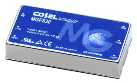 Cosel 30W Isolated DC-DC Converter Through Hole, Voltage in 9 → 36 V dc, Voltage out 5V dc