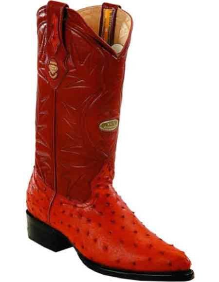 Men's Full Quill Ostrich Handcrafted J Toe Style Leather Boots Cognac