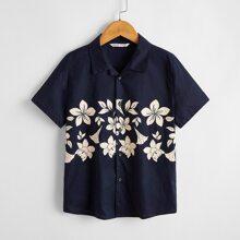 Hemd mit Kragen und Blumen Muster